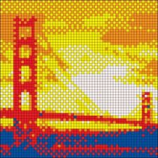 Golden Gate Bridge - Rubik's Cube Mosaic