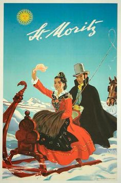 St. Moritz, Switzerland - Vintage Travel ~ Silk Art Print Poster