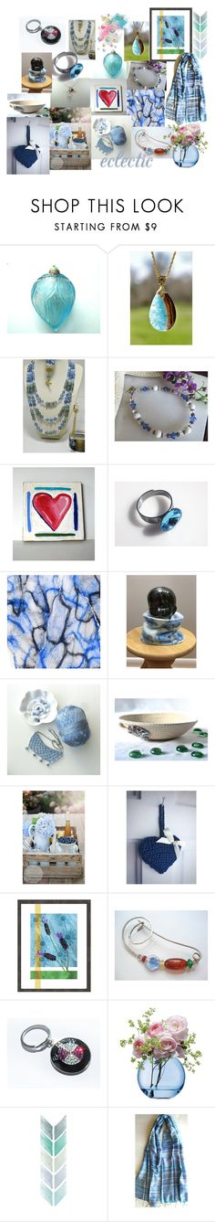 """Blue Treasures on Etsy"" by anna-recycle ❤ liked on Polyvore featuring BMW, LSA International, modern, rustic and vintage"