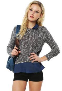 Collared Knit Top | Shop Sweaters at Papaya