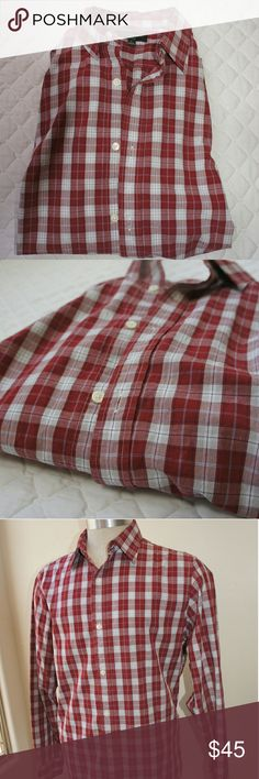 Banana Republic plaid long sleeve shirt BR red plaid shirt.  No issues, barely used.  Lightweight. Banana Republic Shirts Casual Button Down Shirts