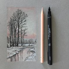 #art #drawing #pen #sketch #illustration #winter #countryside #scotland #fabercastell #polychromos