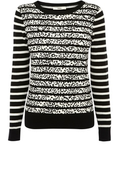 We heart the animal print teamed with the stripe in this crew neck jumper.