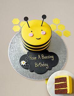 Personalised Stripe the Bumblebee Cake (Serves MS , Bee Birthday Cake, Themed Birthday Cakes, 2nd Birthday, Birthday Ideas, Birthday Parties, Happy Birthday, Bumble Bee Cake, Catering Food Displays, Bug Cake