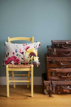 Feel good watercolour designs by Scottish designer Fi Douglas. Modern and abstract floral bedding, cushions & home accessories. Bluebellgray now ship worldwide. Beige Couch, Yellow Sofa, Yellow Chairs, Floral Cushions, Floral Bedding, Bluebellgray, Black Lounge, Bright Kitchens, Vintage Suitcases