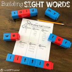 Sight word practice doesn't have to be boring! Make it hands-on by using manipulatives like letter Unifix cubes or magnetic tiles. Preschool Sight Words, Teaching Sight Words, Sight Word Practice, Sight Word Activities, Literacy Activities, Sight Word Wall, Sensory Words, Sight Words Printables, Word Work