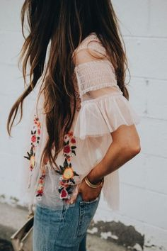 Sheer White Embroidered Top Style and Outfit Ideas