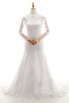 Stylish Trumpet-Mermaid Illusion Natural Sweep-Brush Train Tulle and Lace Ivory Long Sleeve Zipper With Buttons Wedding Dresses with Appliques and Beading LD4081