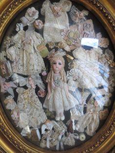 Fantastic Cathy Hansen Bru Mignonette Doll w Wardrobe Presentation Framed Victorian Dolls, Antique Dolls, Vintage Dolls, Vintage Sewing, Dollhouse Dolls, Miniature Dolls, Doll Toys, Baby Dolls, Doll Display
