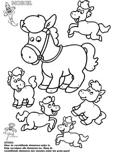 Paarden - Mobielen - Knutselpagina.nl - knutselen, knutselen en nog eens knutselen. Preschool Learning, Learning Activities, Animal Templates, Horse Party, Horse Crafts, Line Illustration, Coloring Book Pages, Free Prints, Baby Quilts