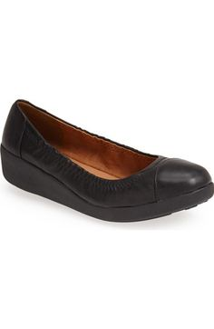 These look so comfy and sylish! FitFlop™ 'F-Pop' Leather Ballerina Flat (Women) available at #Nordstrom