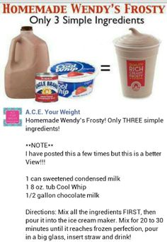 Homemade Wendy's Frosty + Low Cal version too! is part of Frosty recipe - Frozen Drinks, Frozen Desserts, Frozen Treats, Yummy Drinks, Delicious Desserts, Yummy Food, Dessert Recipes, Kid Drinks, Refreshing Drinks