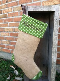 Burlap Christmas Stocking by BasketFullofCherries on Etsy