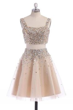 A-line/Princess Homecoming Dresses, Champagne A-line/Princess Homecoming Dresses, A-line/Princess Two Piece Homecoming Dresses, Sparkly Handmade Short Free Shipping Beaded Homecoming Dresses