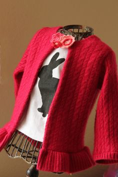 Girl. Inspired.: Woman's Sweater to Girl's Cardigan with snap on closure