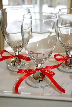 Add A Little Jingle and Pop of Color to Your Stemware - do for breakfast on Christmas Eve or Day