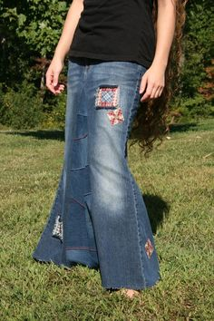 8b2727173c8 Long Denim Skirt with Patches Plus Size Skirt Available Made from Recycled  Jeans Apostolic Clothing Modest Skirt