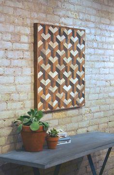 Reclaimed Wood Wall Art reclaimed wood wall art, tessellation, 30 x 30, lath, pattern