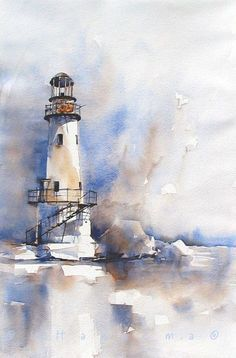lighthouse in blueandbrown by margo Edo Hannema watercolor - lighthouse in blue and brown Watercolor Ideas - Watercolors are reportedly the art medium. Sure, painting with watercolors is demanding and takes a great deal of practice, but is not that with a Watercolor Techniques, Painting Techniques, Watercolor Painting Tutorials, Watercolor Tutorial Beginner, Watercolor Paintings For Beginners, Watercolor Landscape Paintings, Watercolor Artists, Painting Lessons, Lighthouse Painting