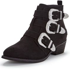 Shoe Box Vine Triple Buckle Western Detail Ankle Boot (38 CAD) ❤ liked on Polyvore featuring shoes, boots, ankle booties, short boots, ankle cowgirl boots, buckle boots, cowboy booties and western boots