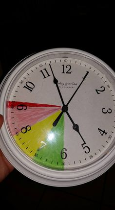 Bedtime clock.. Green - playtime Yellow- bath/tv time Red- story/bedtime Dark red- danger zone..lol - if you are not in bed or get up during or after the danger zone, there is no TV tomorrow.. The kids were sleeping by 9:30 Use your own time frame and threats..think it can be adapted for the classroom
