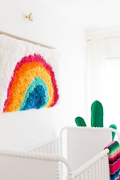 DIY Rainbow Latch Hook Wall Hanging