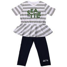Seattle Seahawks Girls Toddler Field Side 2-Piece Capri Set – Gray