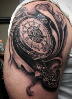 This beautiful antique pocket watch tattoo was done by Painted Bird guest artist Pete Terranova!