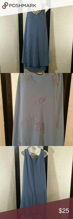 * 2 Layer Flowy Tunic Dress * Beautiful * Bluish Purple w/Beading * Sleeveless * Knee Length * Lined * Polyester * Bundle and Save * Dress Barn Dresses