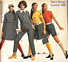 Stripes were all the rage in 1968, from skinny legged pants to shirts, skirts, and shorts!