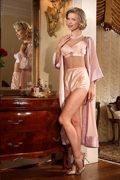 Awesome Padded Bullet Bra and Full Cut Brief topped off with a Sheer Chiffon Robe