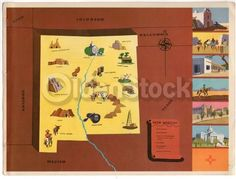 New Mexico State Vintage Graphic Art Illustrated School Map of New Mexico 1939