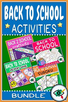 Back to School bundle with engaging activities and games for lower grades in Elementary school: Patterns, Memory game, Sudoku and Craft activity.#backtoschool2020 #firstweekbacktoschool Back To School Images, Back To School Crafts, Back To School Activities, School Games, School Resources, School Fun, First Grade Teachers, First Grade Classroom, Elementary Teacher