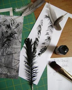 feather mono prints