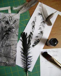 feather mono prints