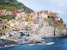 Most Beautiful Coastal Towns: Manarola, Italy - Cinque Terre Places In Italy, Places To See, Romantic Weekends Away, Parc National, Travel And Leisure, Small Towns, Italy Travel, Coastal, Beautiful Places