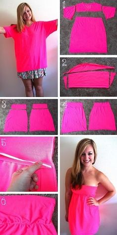 57 Clothing Tips Tricks And Projects That Are Borderline Genius - Fashionable T Shirt - Ideas of Fashionable T Shirt - DIY Summer Fashion Project Neon T-Shirt Reconstruction Diy T Shirt Dress, Diy Dress, Diy Shirt, Dress Sewing, Diy Tank, Crop Shirt, Jersey Shirt, Dress Ideas, Shirt Outfit