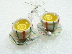 Lemon Tea Earrings Polymer clay by GiraffesKiss on Etsy, £7.50