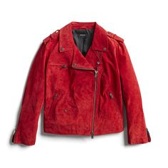 So pretty, I love the color and material. I don't love the asymmetrical opening. I feel like those always look a little funny when the jacket is open. Quirky Fashion, Love Fashion, Fashion Outfits, Stitch Fix Outfits, Stitch Fix Stylist, Moto Jacket, Red Rocker, Style Me, Martha Jones
