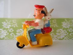 Vintage Plastic Easter Toy Decoration Moped Bunny by RecycledWares, $8.00