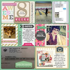 """Digital: 2014 Week 8 - love this page. The color combo is beautiful. I love the pops of pink. I really love the letterpress look of """"oh what fun"""" on the bowling card and the layering of the title card. The mini-scrap page is too cute."""