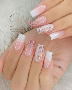 Glitter Accent Nails, Bling Acrylic Nails, Best Acrylic Nails, Pink Nails, Glitter Tip Nails, Fabulous Nails, Gorgeous Nails, Trendy Nails, Cute Nails