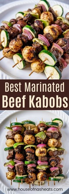 Marinated Steak Kabobs are the perfect summer meal idea for grilling season, and extra delicious when the meat is marinated for hours in the best beef kabob marinade, then skewered with potatoes, onions, peppers, and other colorful veggies! This fantastic shish kabob marinade helps makes this an easy summer meal the whole family will love! #beef #steak #grilling #marinade #marinate #sirloin #kebab #kabob #kebap #skewer #summer #easy