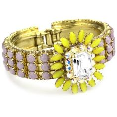 Lavender and Yellow Floral Hinged Cuff Bracelet.