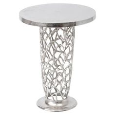 Coulter Ornate Accent Table, Silver