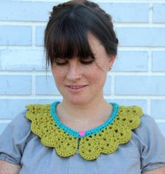 aqua and chartreuse peter pan crochet collar by the freckled purl $20.00, via Etsy.