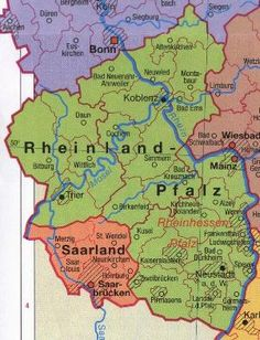 Rheinland-Pfalz also known as Rhenish or Rhineland-Palatinate, is one of the Time In Germany, Rhineland Palatinate, Family Roots, Germany Travel, Family History, Genealogy, 1st Century, Romans, Historical Maps