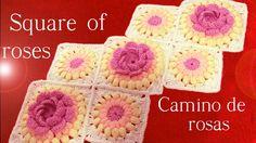 Camino de rosas en alto relieve y flores tejido a Crochet o Ganchillo