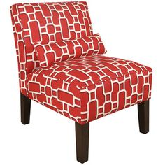 Made To Order Upholstered Armless Chair With Lumbar Pillow   Overstock™  Shopping   Great Deals