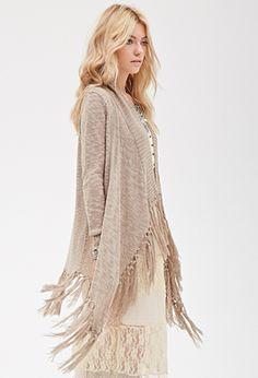 Pink or Beige Fringe Open Front Tassel Cardigan Sweater | FOREVER21 - 2000134651 $25